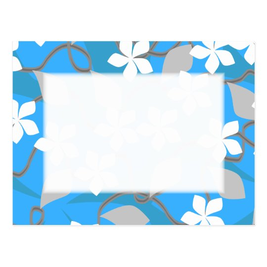 Blue and White Flowers. Floral Pattern. Postcard