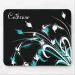 Blue and White Flowers on Black Mousepad