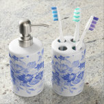 Blue and White Flowers Pattern Bath Set