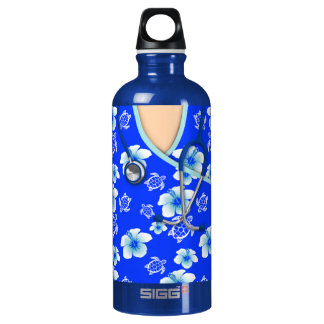 Blue And White Flowers Turtles Medical Scrubs Water Bottle