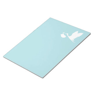 Blue and White Flying Stork Notepad