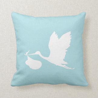 Blue and White Flying Stork Pillow