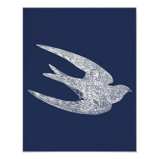 Blue and White Flying Swallow Poster