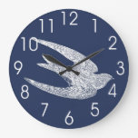Blue and White Flying Swallow Wallclocks