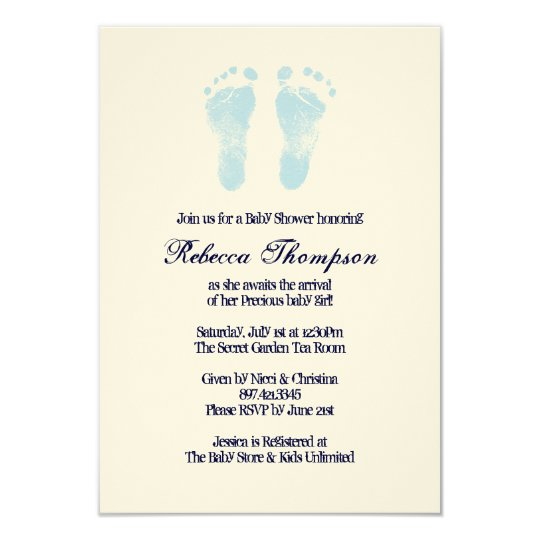 Blue and White Foot Prints Baby Shower Card