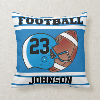 Blue and White Football Throw Pillow