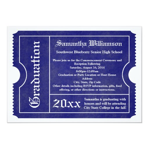 Blue and White formal Graduation Ticket Cards