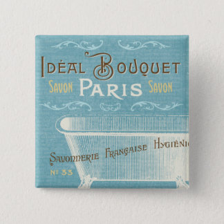 Blue and White French Bathtub Pinback Button