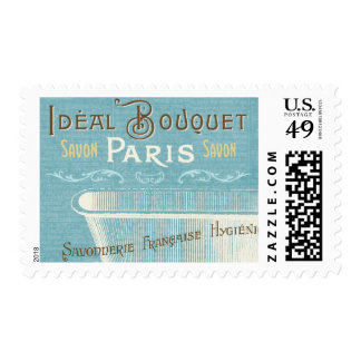 Blue and White French Bathtub Stamp