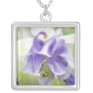 Blue And White Frilly Columbine Square Pendant Necklace