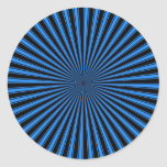 Blue and White Funky Striped Abstract Art Classic Round Sticker