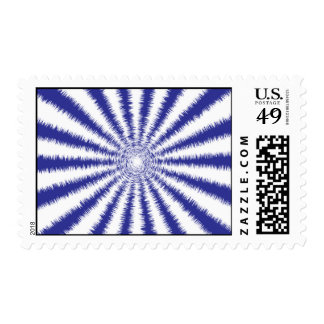 Blue and White Fuzzy Circular Rays Postage Stamp