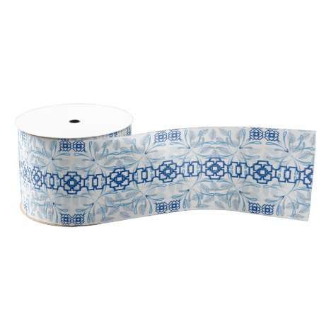 Blue and White Geometric Floral Chinoiserie Grosgrain Ribbon