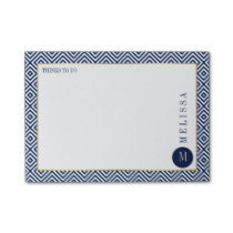 Blue And White Geometric Modern Pattern Post-it® Notes