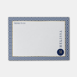 Blue And White Geometric Modern Pattern Post-it Notes