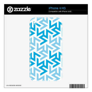 Blue and White Geometric Pattern Decals For iPhone 4S