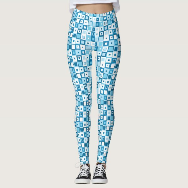 Blue and White Geometric Square Leggings
