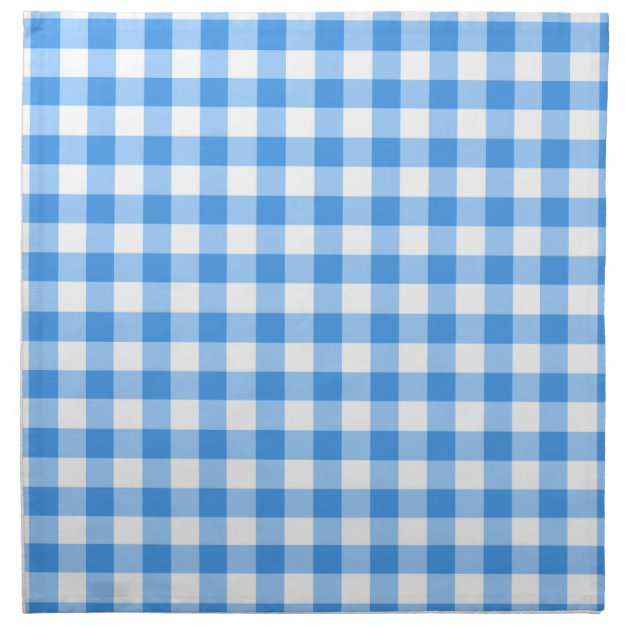 Blue And White Gingham Check Pattern Cloth Napkin