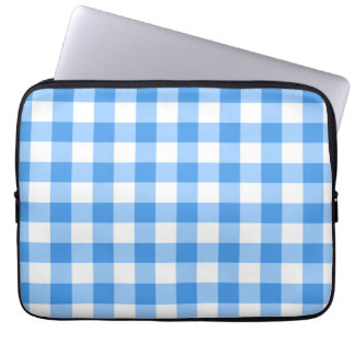 Blue And White Gingham Check Pattern Computer Sleeve
