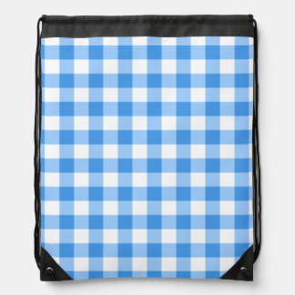 Blue And White Gingham Check Pattern Drawstring Backpack