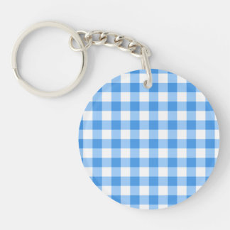 Blue And White Gingham Check Pattern Single-Sided Round Acrylic Keychain