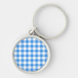 Blue And White Gingham Check Pattern Silver-Colored Round Keychain