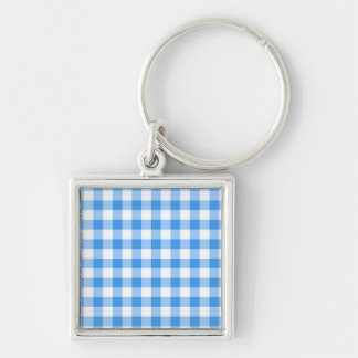 Blue And White Gingham Check Pattern Silver-Colored Square Keychain