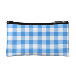 Blue And White Gingham Check Pattern Makeup Bag
