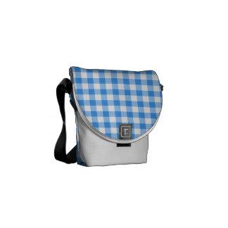 Blue And White Gingham Check Pattern Messenger Bag
