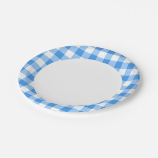 Blue And White Gingham Check Pattern Paper Plate