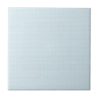 Blue And White Gingham Check Pattern Ceramic Tiles