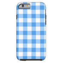 Blue And White Gingham Check Pattern Tough iPhone 6 Case