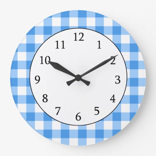 Blue And White Gingham Check Pattern Wall Clock