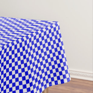 Blue And White Gingham Checkered Tablecloth