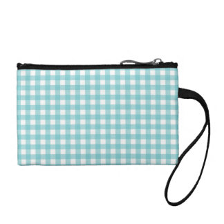 Blue and White Gingham Design Coin Purse