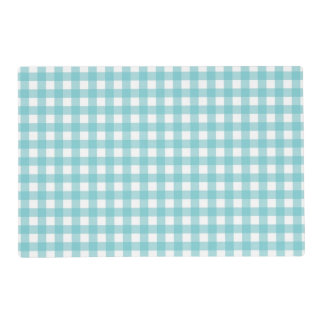 Blue and White Gingham Design Laminated Placemat