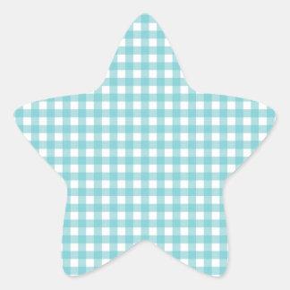 Blue and White Gingham Design Star Sticker