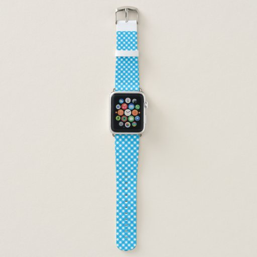 Blue and White Gingham Pattern Apple Watch Band