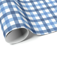 Blue and white gingham pattern wrapping paper