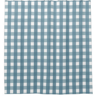 Marvelous Blue And White Gingham Shower Curtain