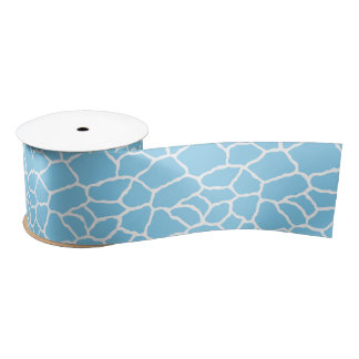 Blue and White Giraffe Skin Pattern Ribbon