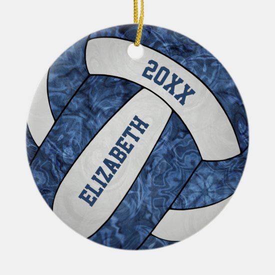 blue and white girls' volleyball ceramic ornament