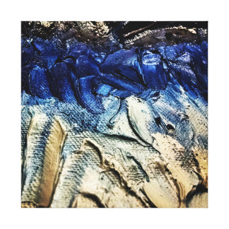 Blue and white gradient ocean paint print canvas print