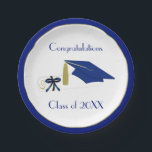"Blue and White Graduation Custom Paper Plates<br><div class=""desc"">Stylish graduation party paper plates,  done in white,  with a blue and gold band around the outer edge.  Graphics of a blue mortarboard cap and blue and white diploma,  decorate the middle of the plate,  with custom blue text ready to personalize.  Matching graduation party paper napkins are available.</div>"