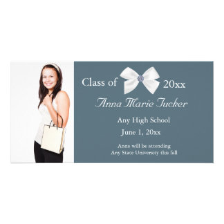 Blue and White Graduation Photo Card