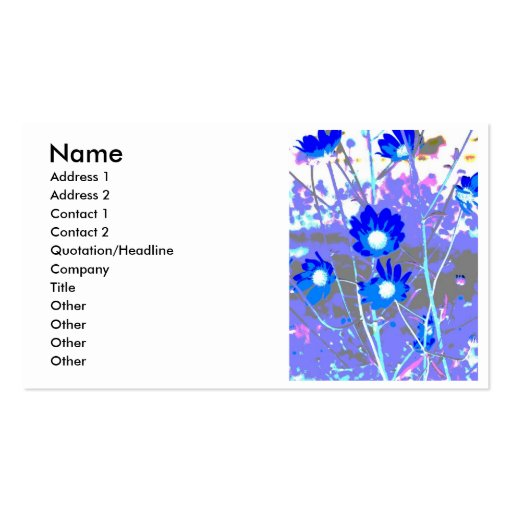 Blue and white graphic of flower photo inverted business card templates