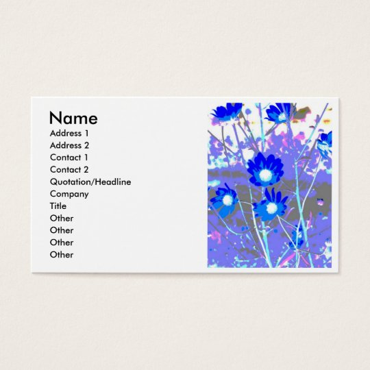Blue and white graphic of flower photo inverted business card