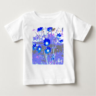 Blue and white graphic of flower photo inverted infant t-shirt