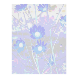 Blue and white graphic of flower photo inverted personalized letterhead