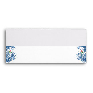 Blue and White Graphic Rose Envelope